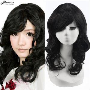 Donne libere di trasporto parrucche nere parrucca di lunghezza media con frangia parrucca ondulata riccia naturale parrucche sintetiche nere perruzo afro peruca donne di cosplay