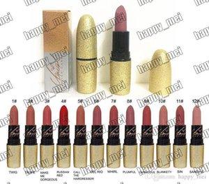 Livraison gratuite ePacket New Tube Lips maquillage Or Rouge à lèvres mat 12 couleurs différentes!