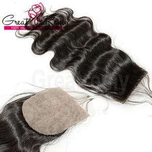 Шелковая основа Top Closure Бразильская Необработанные человеческих волос Объемная волна Шелк основа Закрытие 4 * 4 части волос Natural Color Dyeable