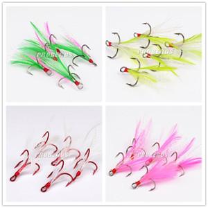 Crochets de pêche multicolores à plumes en acier inoxydable à haute teneur en carbone Crochet 2 # / 4 # / 6 # / 8 # / 10 #