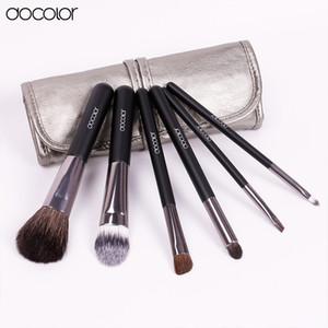Docolor Make Up Brushes 6pcs Set con estuche de cuero Pinceles de maquillaje Clean Powder Foundation Sombra de ojos Cejas Pinceles para labios