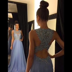 2018 Barato Lavanda Una línea de encaje Prom Vestidos Joya cuello Beads Lentejuelas Apliques largo Gasa formal noche vestidos de fiesta Longitud del piso personalizado