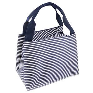 Atacado- DSGS Stripe Lunch Box Carry Bag para Viagem de piquenique Sacos