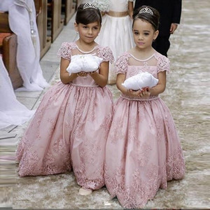 Nuovo arrivo 2017 Pink Lace Appliqued A Line Flower Princess Girls Dresses Open Back Big Bow Abiti da festa di compleanno Prom Wear For Kids