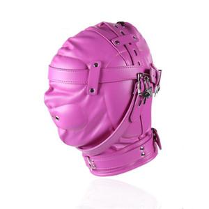 Campanas sexuales bdsm cabeza máscara ceguera principal servilletas de retención juguetes para adultos productos para mujeres de piel sintética rosa GN311300015