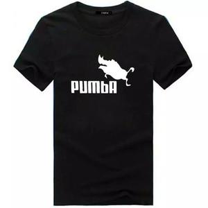 PUMBA 인쇄 T- 셔츠 여름 힙합 스포츠 코 튼 반 슬리브 재미 있은 비행 돼지 인쇄 크리 에이 티브 캐주얼 길어야 T 셔츠 남성