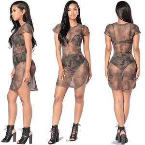 Sexy Mesh Lingerie Exotique Apparel O-cou Sexy Transparent Armée Robe Side Split Design Unique