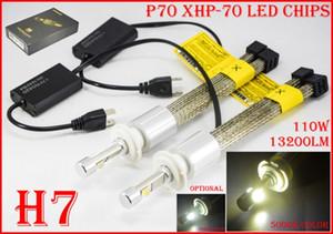 1 Set H4 H7 H8 H9 H11 9005 9006 9012 H13 9007 110W 13200LM P70 LED Faro Cree XHP-70 Chips Fanless 12 / 24V Amarillento 5K Super Blanco 6K