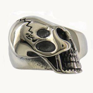 EDELSTAHL Punk Vintage Herren oder Damen Schmuck SIGNET RING CRACK GHOST SKULL BIKER RING 11W68
