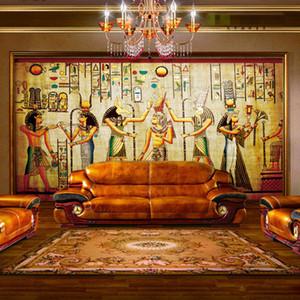 All'ingrosso- Antico egiziano Faraone Foto Wallpaper Retro Art Murale Carta da parati Hoom Decor Carta da parati non tessuto Murale
