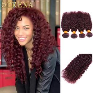 Red Wine Hair Weave 99J Burgundy Peruvian Kinky Curly Human Hair Weft Bundles Kinky Curly Virgin Hair Extensions Peruvian Weaves 10''-30''