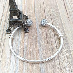 Autêntica prata esterlina 925 Momentos prata Abrir Bangle Com Pave Caps único estilo europeu Pandora Jóias Encantos Beads 596438CZ
