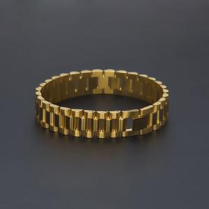 Новый Бренд 15 мм Роскошные Мужские Часы Мужчины Хип-Хоп Позолоченные Ремешок Из Нержавеющей Стали Ссылки Манжеты Браслеты Ювелирный Подарок