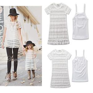 2017 nouvelle maman fille robes été glands blanc dentelle robe en costume famille correspondant vêtements de vêtements mère et fille vêtements filles sun-top A323