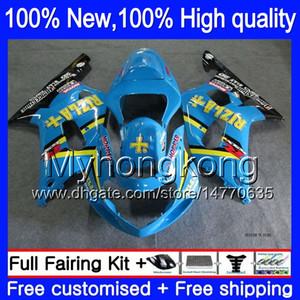 Corpo blu RIZLA per SUZUKI R600 K1 GSXR 600 750 01 02 03 1Y891 GSX R750 GSXR750 2001 2002 2003 Kit carenature carrozzeria GSXR600 Blu nero