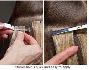 Kalite 10A --- 100% İnsan Brezilyalı saç düz dalga textur 20 '' Cilt Atkı Bant saç Sticker saç Doğal Siyah Renk, parça başına 2.65 g