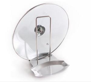 Nuevo Pan de acero inoxidable Cubierta de la olla Tapa Estante del soporte de la cuchara Titular de la estufa Estante de almacenamiento Cuchara de sopa apoya los accesorios de cocina