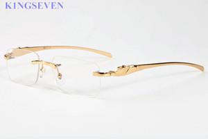 la moda qulaity superior gafas de sol Hombres Mujeres sin montura gafas de cuerno de búfalo con la caja del cuadro rojo verde lentes transparentes de oro lunetas Oculos Gafas