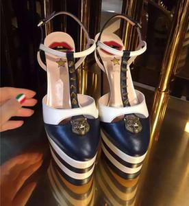 Plataforma de Verão Cravado Sandálias Gladiador Mulheres Listrado Metálico Sapatos de Salto Alto Escarpins Senhoras Sapatos de Casamento de Baile Mary Jane Sapatos