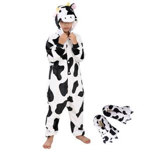 키즈 원피스 파자마 암소 동물 코스프레 잠옷 제복 4-8 세용 발 신발