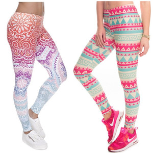 Pantalones elásticos de las mujeres 3D Leggings Gráfica completa de la impresión Skinny Stretchy Pants ajustados elásticos Slim Sprots Fitness Pencil Pantalones LDDK5 RF