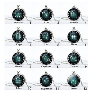 Buena A ++ Twelve Constellation Necklace Glass Time Gemstone Necklace Pendant WFN358 (con cadena) mezcla orden 20 piezas mucho