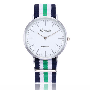 Cool Geneva Hours Men's Casual Dress Nylon Wrist Watches Males Geneva Quartz Watches Christmas Gift Clocks