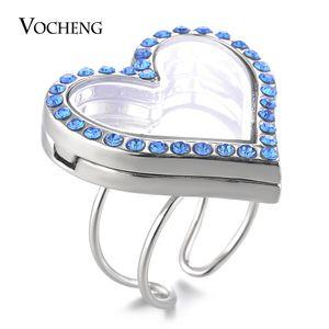 Anel de noivado redimensionáveis Medalhões de memória de vidro VOCHENG 30 milímetros do coração por Floating encantos Openable 5 cores com strass VA-247