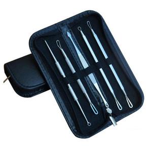 Edelstahl Mitesser Entferner Whitehead Comedone Akne Pickel Makel Nadel Extractor Remover Werkzeug Gesichtspflege 5 teile / satz OOA2156