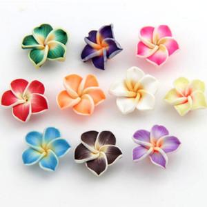Colorido arcilla polimérica Plumeria granos de la flor 15 mm 150 unids / lote perlas granos flojos venta caliente joyería diy L3000