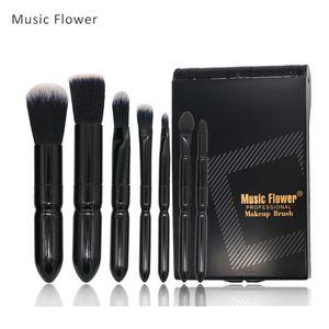 Flor de música 7 Pcs Jogo de Pincel de Maquiagem Profissional Preto Lidar Com Fibra De Pó De Plástico Em Pó Jogo Da Escova Da Sombra Com Caso Cosmético
