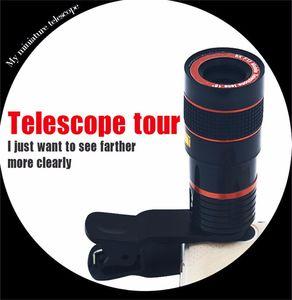 Telescopio del teléfono 8X Zoom Universal móvil óptico zoom de la cámara Lente Negro Y Color Rojo Con Soporte extraíble