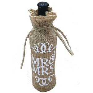 Atacado-Mr. Mrs Juta Serapilheira Tampa De Garrafa De Vinho De Presente De Casamento Decoração De Festa De Natal AA8008