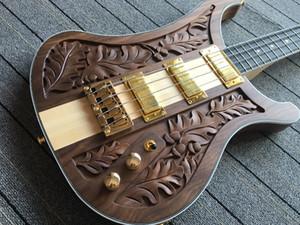 RickenBastard 4004 LK Lemmy Kilmister Limited Edition Коричневый орех Walnut Крыло ручной работы Электрическая бас-гитара Один ПК Кленовый шеи через тело