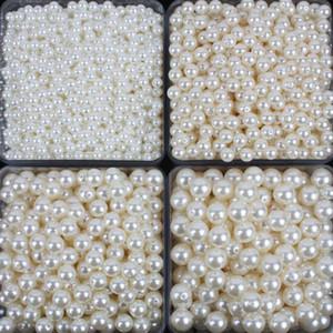 100pcs / lot New White ABS Perle d'imitazione Perline Fare gioielli Fai da te Perline Gioielli fatti a mano Collana Perle Branelli allentati Rotondi per l'artigianato