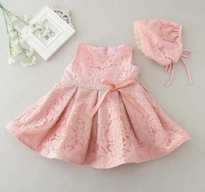 Latest set of one year old baby girl baptism dresses princess wedding vestidos tutu 2017 baby girl christening gown with hat