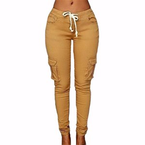 Femmes Pantalons 2017 Nouveau Mode Femme Pantalon Solide Mince Stretch Cordon Pantalon Vert Rouge Sexy Party Club Pockets Pantalon