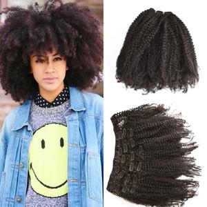 4b 4c clipe em extensões de cabelo humano encaracolado para as mulheres negras cambojano cor natural 7 pçs / set clip ins G-EASY