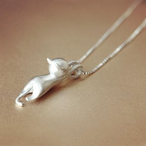 Heiße Frauen Sterlingsilber überzog nette hängende Katze-hängende Halsketten-Schmucksachen für Freundinmon-Geschenk freies Verschiffen