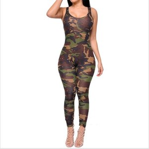 Gros-2017 New Summer Manches Sexy Sexy Bodycon Porter Armée Camouflage Imprimé Skinny Rompers Femmes Combinaison Body Combinaisons Combinaison
