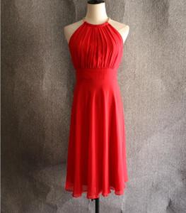 Custom Made New Alta Qualidade Simples Red Cocktail Dresses Zipper Voltar Halter Na Altura Do Joelho Formal Vestidos de Festa Plus Size Vestidos de Noite Do Partido