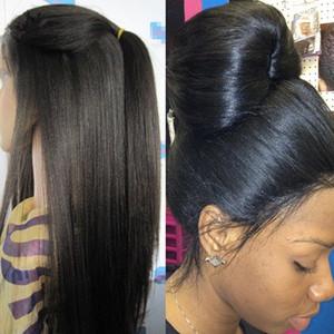 180 Densité Kinky Droite Complète Dentelle Perruque Soie Haut 4X4 Malaisienne de Cheveux Humains Grossière Yaki Soie Base Sans Colle Avant de Lacet Perruques Cheveux Naturels
