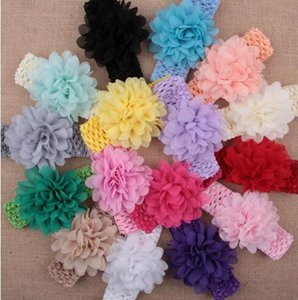 Hair Accessories Baby Girls Large Chiffon Flower Lace Hairband Soft Elastic Headband Hair Band YH449