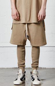 Vente en gros - 2017 été Mens poches zippées cordon cordon shorts drop-crotch Terry Sweatshorts livraison gratuite