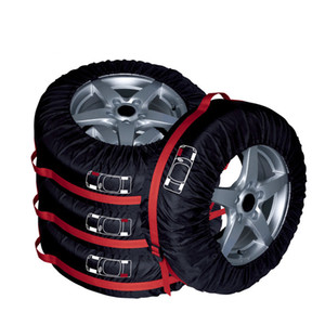 4 Pcs 타이어 토트 66cm 직경 Foldable 예비 타이어 커버 보호 커버 저장 봉투 자동차 오프로드 트럭에 대한 휠 커버 블랙 레드