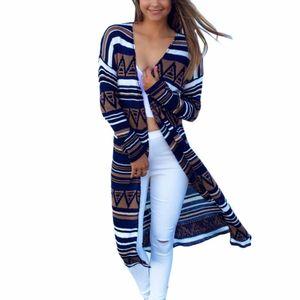 Gros- Mode femme Pull à manches longues Cardigan en maille lâche Pull Veste Manteau mince Stripe Imprimé long Outwear