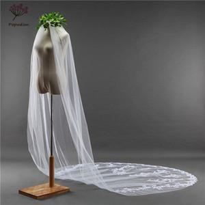 Поподион 3 метра длинные свадебные вуаль белые кружевные аппликации свадебные вуальятные завесы сетки завесы для невесты с гребнями DHWAS10013