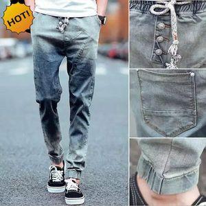 Wholesale-Fashion Casual Teenagers Jeans Men Retro Slim Fit Spliced Drawstring Cuffed Design Hip Hop Stretch Bottoms Mens Ninth Pants M-XL