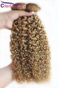 브라질 금발 곱슬머리 연장 싼 색깔 27 꿀 금발 비꼬인 꼬부라진 Brazillian 사람의 모발 직물은 거래 3Pcs 를 묶습니다