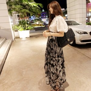 NEW 2017 brand high qualitysummer full skirt fashion vintage print chiffon half-length skirt floral print floral skirt free shipping
